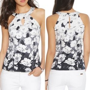 WHBM black and white printed floral halter top